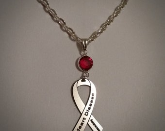 Heart Disease Awareness Necklace - w/ Swarovski Austrian Crystal, Ribbon Jewelry, Support Cause Charity, Cardiovascular Disease