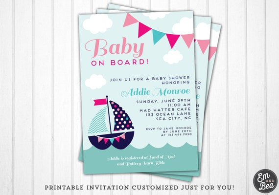 nautical baby shower invitation girl nautical sailboat baby shower