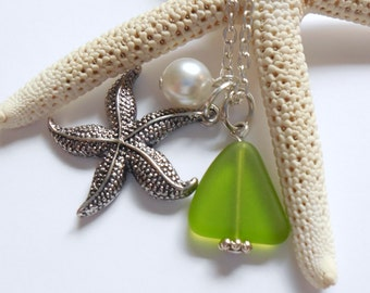 Lime Green Sea Glass Necklace, Charm necklace, Pearl, Starfish Necklace, bridesmaid necklace, beach wedding. FREE SHIPPING within the U.S.