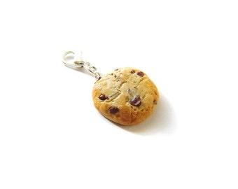 Chocolate Chip Cookie Charm, Polymer Clay Food Charm, Polymer Clay Chocolate Chip Cookie, Miniature Food Jewelry