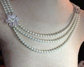 1930s Jewelry | Art Deco Style Jewelry Front and Back Three Strand Pearl Necklace $150.00 AT vintagedancer.com