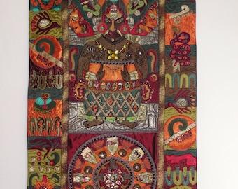 Mayan. Textile art. wall art.Embroidery tribal