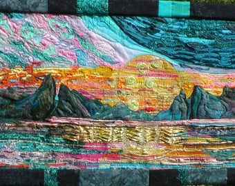 sunset reflections wall hangingreflections on water landscape.textural fibre art free embroidery.
