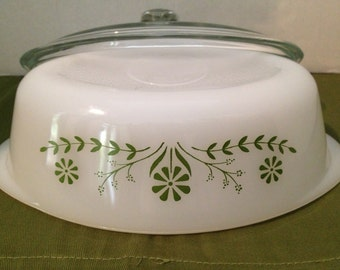 Vintage Casserole Dish With Avocado Green Flower Accents