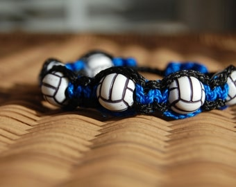 Royal Blue and Black Volleyball bracelet   - More cord colors and sports theme options available