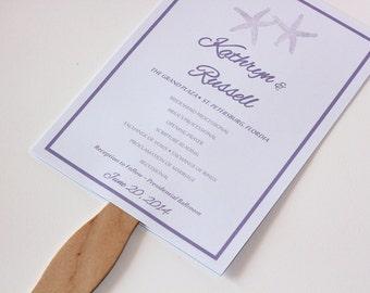 Beach Wedding Fan Program - Program Fan - Beach Ceremony Program - Starfish Wedding Fan Program - Tropical Wedding - 5x7 Wedding Paddle Fan