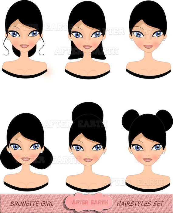 Brunette Girl hairstyles digital clipart set for Personal and ...