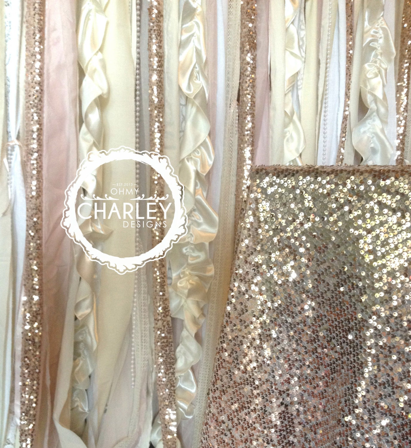 Items Similar To Rose Gold Sequin Wedding Backdrop Garland With Pink Blush Iv
