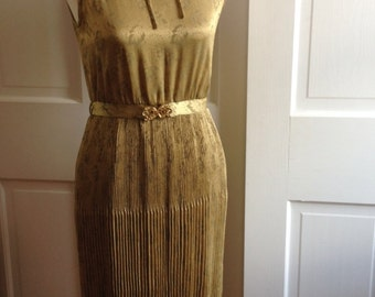 Gold Floral Pleated 80s Dress with Belt