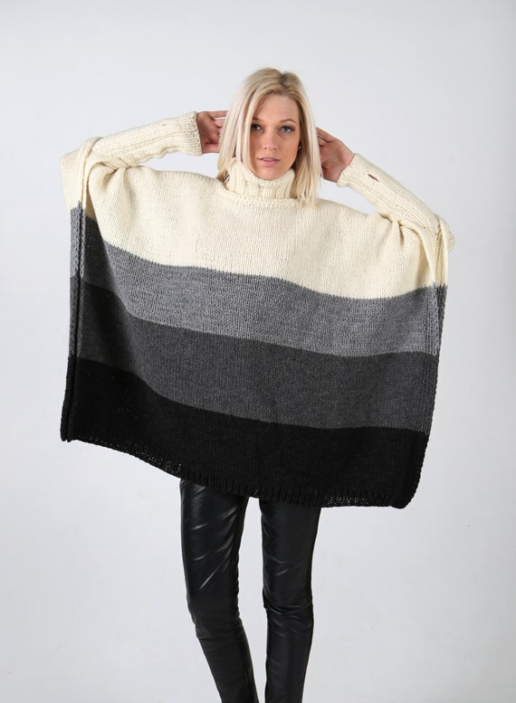 Items similar to Hand knitted four colour poncho with long ...