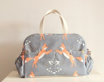 Ready to ship Fox Big Diaper Nappy bag  / eco canvas and faux leather /Playful Foxes /big versatile and practical bag/ baby bag/changing bag