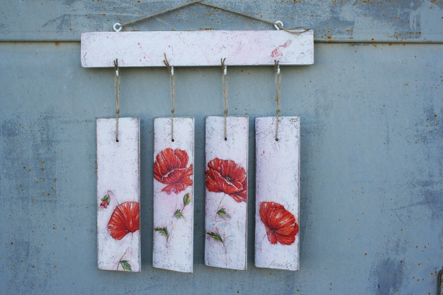 Red Poppy Wall Decor : Red poppies wall hanging home decor shabby chic summer