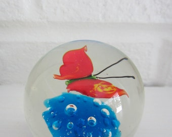 Vintage small butterfly glass paperweight, red and blue