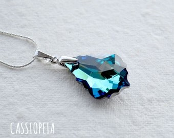 Bermuda Blue Swarovski Necklace, Blue Crystal pendant, Swarovski Teardrop Pendant, Swarovski Chandelier Pendant, Swarovski Baroque Pendant