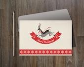 Christmas Card Printable, Digital file, 4x6, Instant Download - Deer Xmas Card