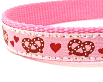 BACK to SCHOOL SALE - German Pretzel in pink dog collar / ribbon dog collar/ adjustable dog colla