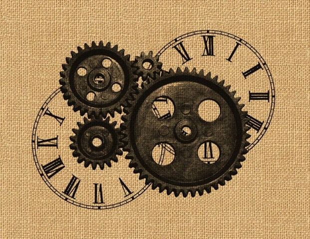 Steampunk Gears Clock Face Vintage Printable Image Graphic