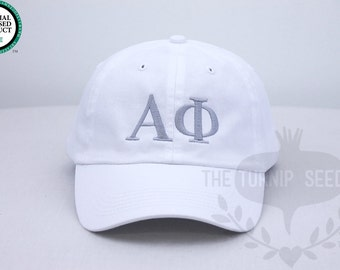 Alpha Phi Greek Only Sorority Baseball Cap - Custom Color Hat and Embroidery.