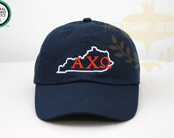 Alpha Chi Omega Kentucky Sorority Baseball Cap - U.S. State Custom Hat and Embroidery.