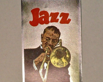 80s Jazz Musician Sticker Vending Decal Trombone Player Metallic foil reflective mylar Tommy Dorsey music art decor