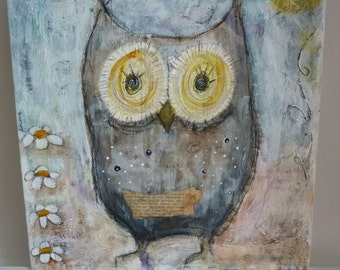 Original owl painting. I used different techniques and different materials.