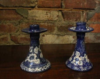 Hand Carved Hand Painted White & Blue Flower Candle Stick Holder Portuguese Terracotta Ceramic Clay Pottery
