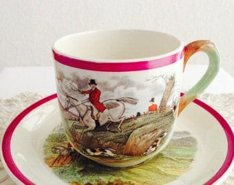 Rare Copeland Spode Herring Hunt Red Rimmed Cup and Saucer