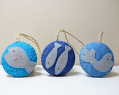 Boxing Day Sale 50% Off. Blue Fish Ornaments Set of 3. Silver Embroidery on Fabric/Felt. Fish Doorknob Hanger. Easter Gift.