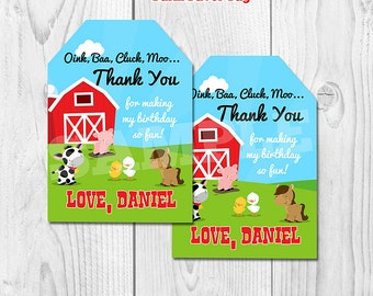 Farm Favor tags personalized , Barnyard Gift tags, Barn Animals Sticker tags, Thank you tags, digital gift tags, printable DIY