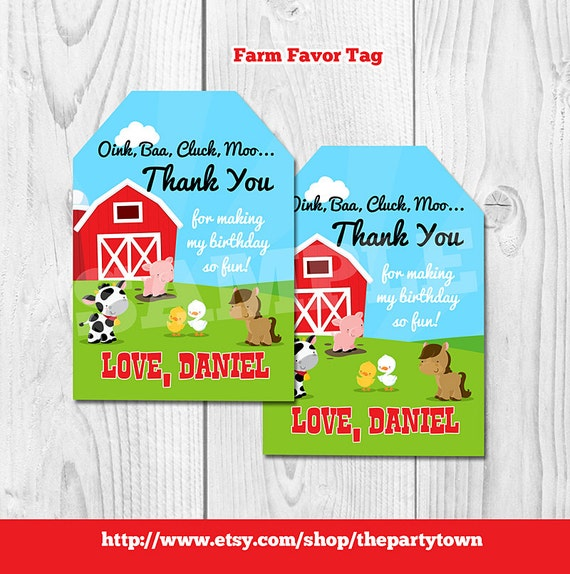 Farm favor tags personalized barnyard gift tags barn animals il570xn negle Gallery