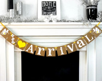 New Arrival Banner / Baby Shower Sign / Boy or Girl / Storks / Rustic Baby / Nursery Room Sign / Yellow / Brand New Baby