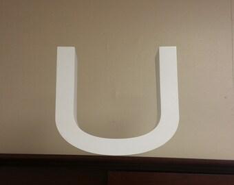 "Medium Reclaimed White Metal Cast Letter ""U"", 9"" tall 3"" deep, Industrial decor, home decor, office decor"