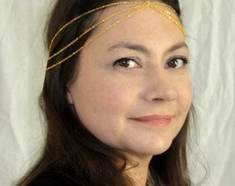 Gold headchain, Gold chain headpiece, Multistrand gold Headchain, Chic gold headchain, Hair accessories