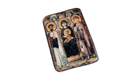 """32x22cm-13""""x9"""" wooden icon Virgin (Theotokos) and Child between Saints Theodore and George .From St. Catherine's Monastery, Sinai, Egypt"""