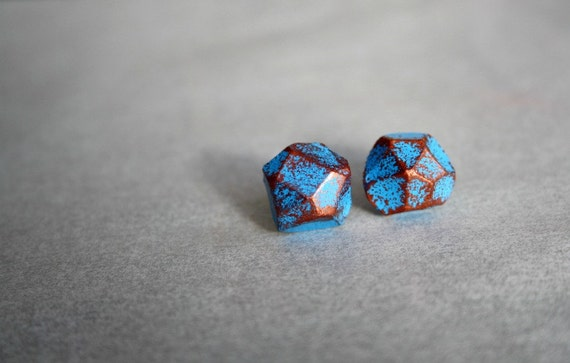 Hand Painted Blue & Copper Multi Faceted Polymer Clay Stud Earrings