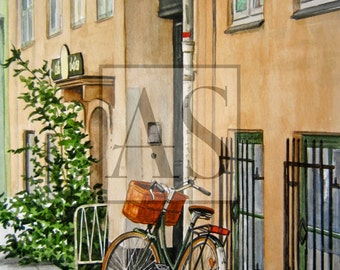 Yellow House with Bicycle (art card)