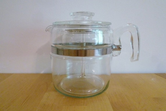 Vintage Pyrex Flameware Percolator 6 Cup mid century glass