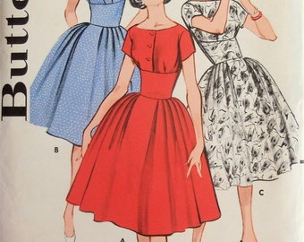 Vintage 1950s Sewing Pattern Butterick 9265 Womens Curved Midriff Dresses