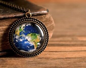 Planet Earth pendant, antique brass pendant, glass dome pendant, antique brass necklace, glass necklace, planet Earth necklace