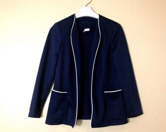 SALE Vintage 1980s PYKETTES Navy Blue and White Blazer Jacket