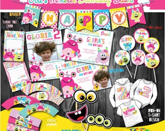 Girls Monster Party Package,  First monster Birthday Party,1st Birthday Printable Party Package, DIY Monster Party Decorations