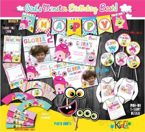Girls monster party package first monster birthday party1st for 1st birthday decoration packages