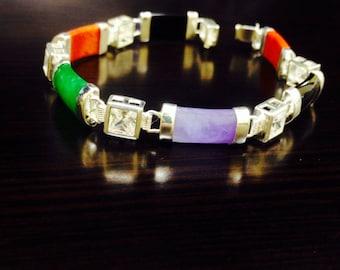 Jade Bracelet - Silver Jade Bracelet - Multi Color Jade Bracelet - Handmade Bracelet - Jade Link Bracelet - Jade Jewelry - Silver Bracelet