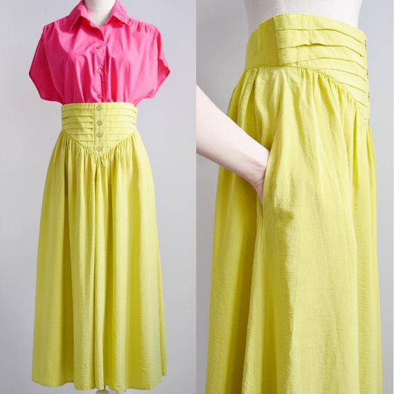 lime green midi skirt with pockets medium flare size m