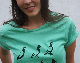 SALE! Spy Pigeon hand screen printed organic roll-sleeve t-shirt for women in mint green