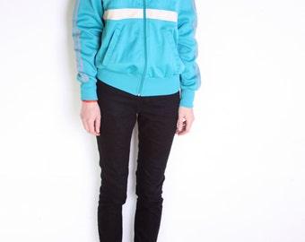 70's Adidas trefoil jacket, vintage unisex green, white and gray jacket, womens adidas jacket, mens adidas jacket, vintage sportswear