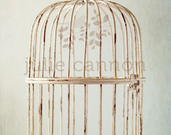 Bird Cage Photograph  - Shabby Chic Decor - French Provincial Styling - Neutral Tones - Blue and Cream - Home Decor - Wall Art -