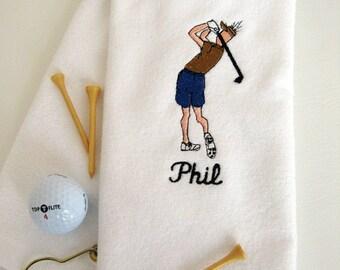 "Mens Golf Gift - Personalized Golf Towel - Golf Towel ""Golf Dude Swinging""  White towel # golf 006"