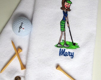 Golf Towel - Ladies Golf Gift - Personalized Golf Towel - Golf Towel - Lady Golfer with stripe skirt  - White towel # golf 062W
