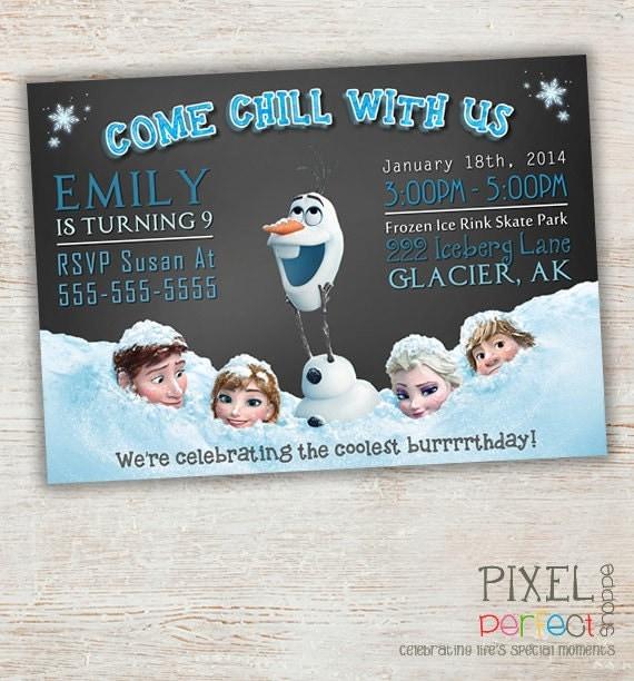 Frozen Birthday Invitation, Frozen Birthday Party, Frozen Invitation, Frozen Birthday Invitation, Disney Invitation, Elsa, Olaf, Chalkboard